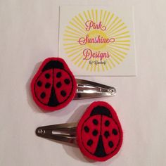 Red and Black Felt Ladybug Hair Snap Clip Set on Etsy, $5.00