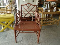Faux Bamboo Chippendale Arm Chair