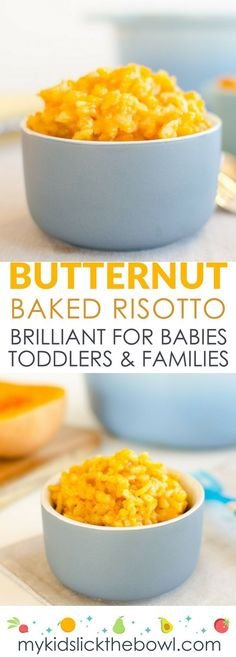 Butternut pumpkin baked risotto a great baby food idea and family meal. Perfect kid friendly lunch or dinner