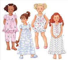 GIRL'S SLEEPWEAR Sewing Pattern - Nightgown Pajamas PJs Bloomers - EASY