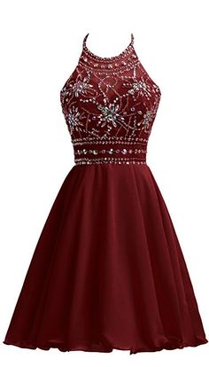 Burgundy Chiffon Homecoming Dresses For Juniors Halter Prom Party Ball Gowns