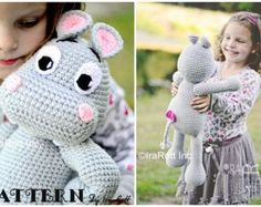 PATTERN Happy Hippo the Hippopotamus Amigurumi Toy, Stuffed Animal, Crochet Pattern in PDF