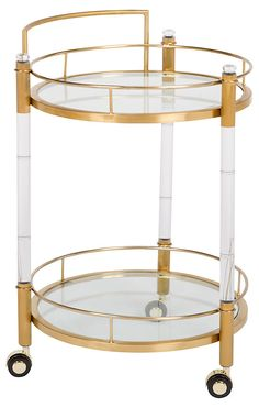 Acrylic Fitzgerald Bar Cart, Brass | Paris in Winter | One Kings Lane
