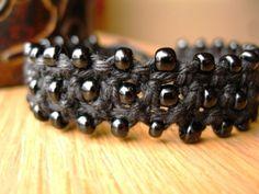Black Beaded Macrame Hemp Bracelet (inspiration only) Hemp Jewelry, Jewelry Knots, Bracelet Knots, Macrame Bracelets, Diy Jewelry, Jewelry Making, Jewelry Ideas, Macrame Necklace, Macrame Jewelry