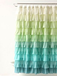 Replace your shower curtain for a quick update that also banishes the old mildewed one -- #bathroomdecor #ombre #color