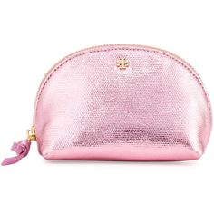 Tory Burch Metallic Mini Domed Cosmetic Bag ($78) ❤ liked on Polyvore featuring beauty products, beauty accessories, bags & cases, pink fabric stand, tory burch makeup bag, makeup bag case, makeup purse, wash bag and travel bag