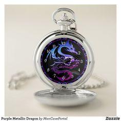 Purple Metallic Dragon Pocket Watch Personalized Pocket Watch, Pocket Watches, Make A Gift, Cool Watches, Portal, Metallic, Dragon, Quartz, Man Shop