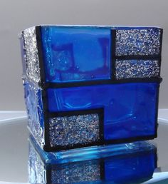 Faux Stained Glass Square Blue Silver Glitter Hand Made Votive Candle Holder