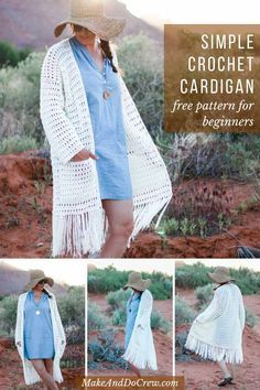 Crochet clothes 781304235335859966 - This easy, long crochet sweater pattern is almost seamless and requires very basic skills. Free pattern and tutorial featuring Lion Brand ZZ Twist yarn. Mochila Crochet, Gilet Crochet, Crochet Coat, Crochet Cardigan Pattern, Crochet Jacket, Crochet Scarves, Crochet Shawl, Easy Crochet, Crochet Clothes