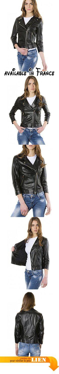 B06XVS9PYC : D'Arienzo - KCC  couleur noir  veste en cuir femme perfecto cuir plongé aspect lisse - XL Noir.