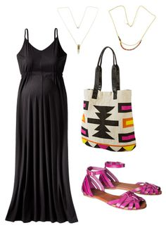 Add bold accessories to this chic maternity maxi for a perfect spring look.
