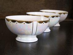 antique french cafe au lait bowl ,art deco, white and goldy, SARREGUEMINES