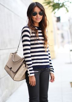 Striped pullover & leather skinnies