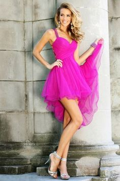 Fuchsia High To Low Sequin Back Prom Dress With Straps.