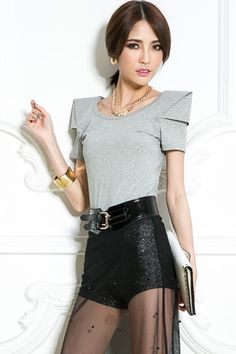 Chic High Shoulder Padded Tees OASAP.com