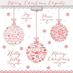 Clipart Christmas Ball Chalkboard Winter Red Snowflakes