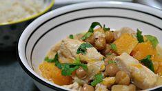 romige pompoencurry met kikkererwten en kalkoen