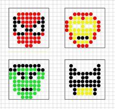 bead embroidery patterns on fabric Pony Bead Patterns, Bead Embroidery Patterns, Beading Patterns, Hama Beads Disney, Hero Crafts, Kids Crafts, Hama Beads Design, Melting Beads, Beaded Cross Stitch
