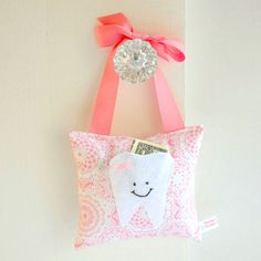 Girls Tooth Fairy Pillow in Honeysuckle by ToothFairyPillowShop, $18.00