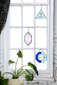 Modern stained glass suncatchers.