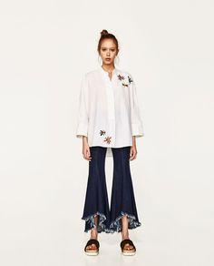 ZARA - FEMME - CHEMISE XL AVEC PAILLETTES White Long Sleeve Dress, Lace Dress With Sleeves, Bell Sleeve Dress, V Neck Dress, Size 16 Dresses, Petite Dresses, Zara Dresses, Zara Mode, Best Blazer