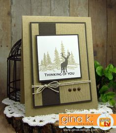GKD Supplies Used: Stamps: Framescape Winter Trees (Theresa Momber) Ink: GKD Kraft, Charcoal Brown, & Black Onyx Paper: Pure Luxury Layering Weight Card St… Masculine Birthday Cards, Birthday Cards For Men, Masculine Cards, Your Cards, Men's Cards, Animal Cards, Card Sketches, Stamp Tv, Homemade Cards