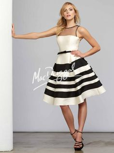 Cream and Black Tea Length Dress   Black Stripes   Parisian Dress   Mac Duggal 7525C