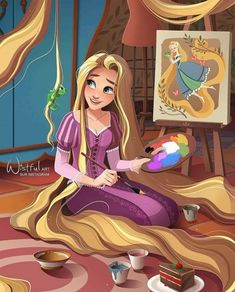 Rapunzel and her beautiful painting art with Pascal the chameleon Disney Princess Drawings, Disney Princess Pictures, Disney Princess Art, Disney Rapunzel, Disney Drawings, Tangled Rapunzel, Disney Princess Paintings, Disney Artwork, Disney Fan Art