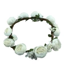 Handmade Headband Wedding Hair Crown Artificial Flowers Wreath, White * Check out the image by visiting the link.