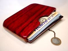 Paduak and Oak Wooden Wallet with Magnet Closure