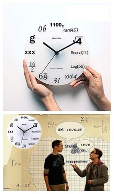"""Who wants this Shelton---Big Bang Theory's geeky clock? You need to know math to understand all these! Don't forget to use your coupon for discount: """"PTL10331"""" to save your more in your next shop!"""