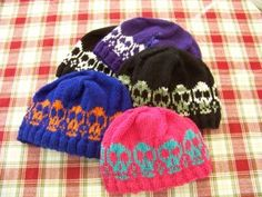 knit skull hat - kid and adult sizes