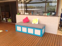 Outdoor storage box - nailed it! Outdoor Storage, Bench, Box, Furniture, Home Decor, Homemade Home Decor, Benches, Home Furnishings, Boxes