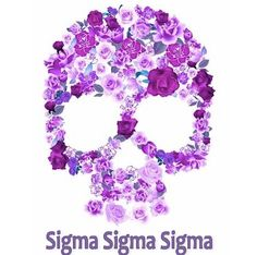 Violet Sigma Sigma Sigma Skull with writing...