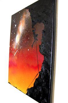 Galxy Art - Space painting - Rock Climber Art Original Painting Spray Paint by KanoelaniArt