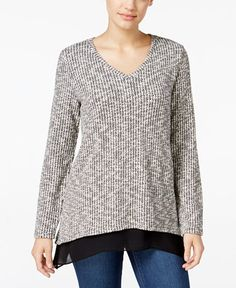 Style & Co. Jacquard Chiffon-Hem Top, Only at Macy's