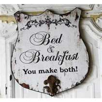 Bed and Breakfast Distressed Shield Wall Plaque by Peacock Park Design