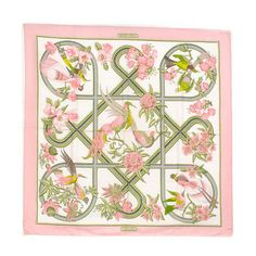 Hermès Caraibes Pink Silk Scarf