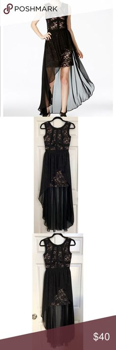 Morgan & Co. Black Lace Chiffon-Overlay Dress Morgan & Co. Black Lace Chiffon-Overlay Dress. Size 1 (XS-S). Only worn once. Beautiful fit.. extremely flattering! Morgan & Co. Dresses