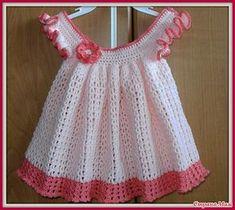 Crochet Toddler, Baby Girl Crochet, Crochet Baby Clothes, Crochet For Kids, Crochet Girls Dress Pattern, Baby Dress Patterns, Vestidos Bebe Crochet, Baby Kind, Toddler Dress