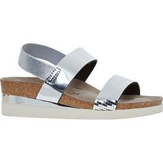 Silver Double Strap Footbed Sandals