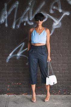 Sunday Blues Pants and Crop Top Kyrz's Closet //Shoes Christian Louboutins //Handbag Similar Here//Sunglasses ShopStyleHaven Kyrzayda Chic Outfits, Summer Outfits, Fashion Outfits, Womens Fashion, Blue Fashion, Fashion Looks, Blue Pants, Mom Style, Spring Summer Fashion