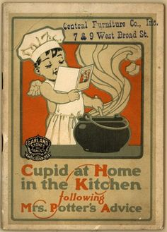 Children as figures of cupid, cooking in the home kitchen