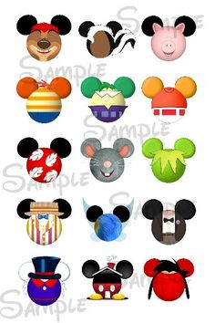 Various character inspired Mickey head by SwirlyColorPixels, $1.50
