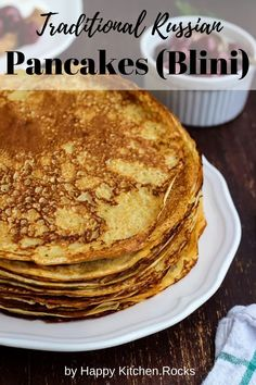 This traditional Russian pancakes (blini) recipe is a pearl of Russian cuisine. I use this recipe for over 15 years and my pancakes have always come out great. Lemon Desserts, Great Desserts, Healthy Dessert Recipes, Clean Eating Recipes, Brunch Recipes, Real Food Recipes, Breakfast Recipes, Vegetarian Recipes, Dinner Recipes