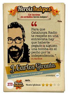 """#HeroisIndepes 273. Juan Carlos Girauta: """"Para que Catalunya Radio te respete en una entrevista hay que haberle pegado a alguien una bomba en el pecho por la independencia."""" Image Cat, Crock Pot, Bombshells, Someone Like You, Interview, Money, Beads"""
