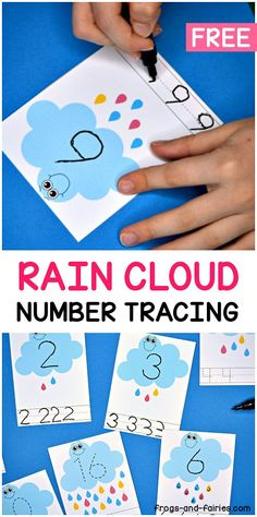 Grab these adorable Rain Cloud Number Tracing Cards for fun writing and counting practice! These smiley clouds are going to help your little learners practice counting and writing numbers from This set features 21 number tracing cards! Weather Activities Preschool, Spring Activities, Preschool Learning, Preschool Crafts, Toddler Activities, Preschool Kindergarten, Teaching, Number Tracing, Writing Numbers