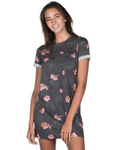 The Black Floral Tee Dress Short Sleeve Dresses, Dresses With Sleeves, Ladies Dresses, Tee Dress, Tees, Lady, Floral, Women, Fashion