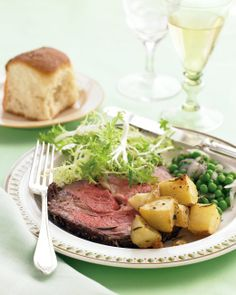 Rib Roast with Rosemary-Garlic Potatoes ~ SERVINGS:8  ~ A juicy rib roast and seasoned potatoes cook at the same temperature to help you get this elegant meal on the table faster. PREP: 15 MINS TOTAL TIME: 2 HOURS 30 MINS