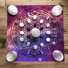 Flower of Life Galaxy Crystal Grid Poster Types Of Crystals, Diy Crystals, Chakra Crystals, Crystals And Gemstones, Stones And Crystals, Healing Gemstones, Healing Crystals, Crystal Mandala, Crystal Flower